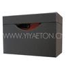 Black Drawer Type Leather Wine Carrier for 2 Bottles