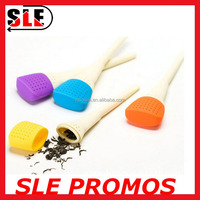 2015 New Product Custom Resistant High Quality Baby Children Kid Stocked Brush Shape Silicone Wood Tea Infuser and Coffee Filter