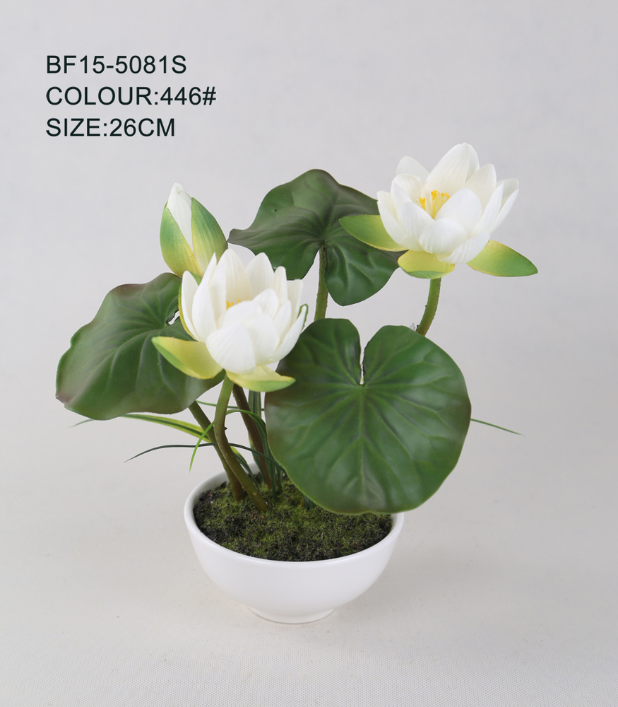 2016 best sell artificial lotus potartificial water lily in ceramic artificial lotus flowers in ceramic pot can be used to home decoration hotel decration super market decoration and so on izmirmasajfo