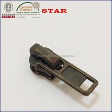 No.3 metal zipper puller DA slider antique brass color