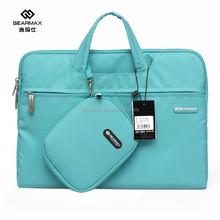 Hot sale gifts for friends High quality shockproof polyester hidden handle Lake Blue laptop handbag computer cases