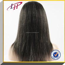 Natural color mix grey Yaki straight hair wig ,100% Brazilian virgin human hair full lace wig with bangs