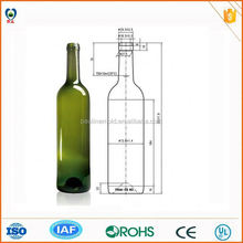China product empty cork 750ml wine bottles for sale
