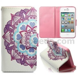 Magnetic Flip Stand TPU+PU Leather Case for iPhone 4S with Card Slots