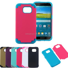 Colorful Hybird Silicone+PC 2 in1 Shockproof Cell Phone Back Case Cover For Galaxy S6 G9200