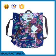 flower printing ladies canvas bag backpack