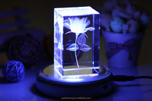 AAA2015 clear low price 3d laser crystal glass crystal lotus flower