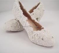 Handmade Lace Pearl Rhinestone Bridal Shoes Round Toe high heel Wedding Shoes 2.5-4 inches Heel high/Size 4.5-10