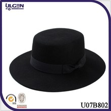 Hot sale gentlemens black fedora hat with bow black boater hat cheap