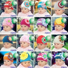 Knitting crochet pattern cute baby hats caps with daisy flower