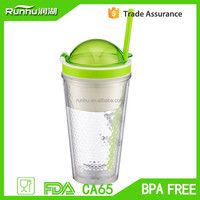 Wholesale Diamond Shaped Inner 16oz Plastic Double Wall Snap Cup with Cookie Holder RH114-16