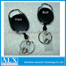 BLACK Carabiner Style Retractable Reel. Ideal For Holding A Key, ID Badge Holder, Proximity Car