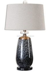 decorative luxury blue glass table lamps with empire shade for guestroom living room