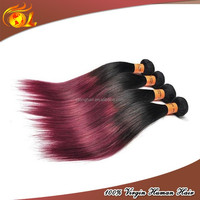 Two tone ombre remy human hair burgundy remy red hair curly for weaving
