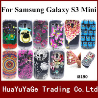 Free shipping phone cases coloured drawing TPU cover Emboss color print Flower case For Samsung Galaxy S3 Mini I9082