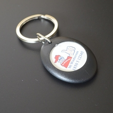 Plastic trolley coin holder with custom logo token