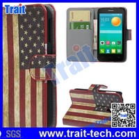15 Patterns Retro US Flag Wallet Style Magnetic Buckle Stand PC+PU Leather Case for Alcatel One Touth POP D5/5038E