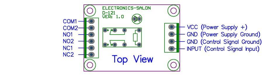 dpdt signal relay module, 5vdc, ry5w k relay has assembled Circuit Diagram Symbols