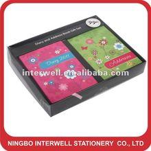 2pcs mini agenda notebook memo pad in paper color box