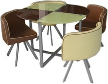 4 seater wood round stainless steel swivel top dinner table