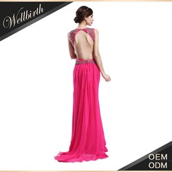 Latest fashion using import crystal sexy backless long gown