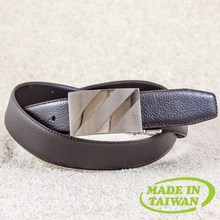 Reversible buckle genuine leather belt for men