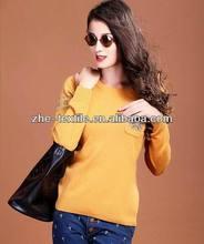 100% cashmere ladies pullover jacquard 2/26nm