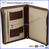 leather file organizer folder document holder a4 bag case with zipper