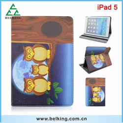 Owl Pattern Leather Wallet Case for ipad 5 tablet case Wholesale Supplier