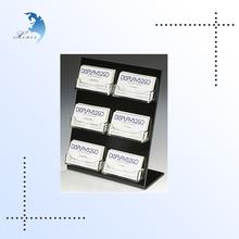 6-Pocket Acrylic Business Card Holder for Tabletop, Slant Back, Open Pockets - Black