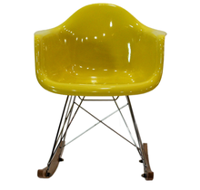 2015 Eames style rocking chair was made from fiberglass and metal frame with wooden legs for living room