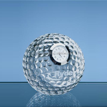 Hand Made K9 Crystal Golf Ball Ppaperweight With Clock For Office Decoration