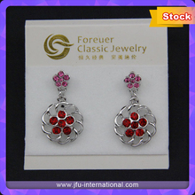 2015 Promotion Zircon Gold Plated Red Dangle Earrings