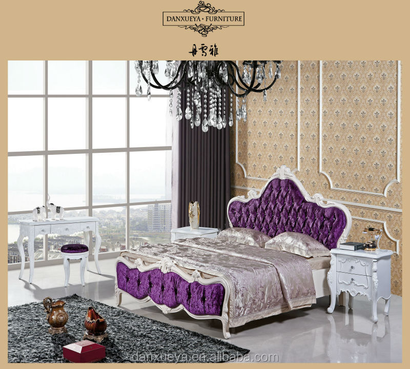 China king size solid wood furniture luxury velvet royal Erotic furniture