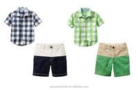 Boy Clothing Sets Handsome Plaid Shirt+Pants Summer Clothing