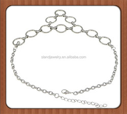 Good quality Women's Silver loops Round Circle Links Long Necklace