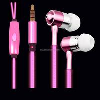2015 hot selling Flash cable of in-ear EL glowing metal earphones for smart phone