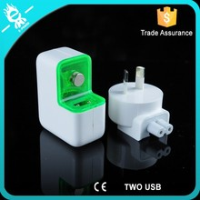 Usb travel charger 2 in 1 with 2 ports usb,for ipad super fast power charger,for tablet usb multi charger