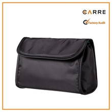 Snap Closure & Zip Closure black nylon clutch bag