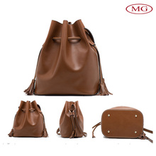 Fashion design 2016 spring women real leather bags with tassel drawstring single shoulder strap