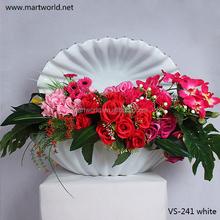2015latest popular wedding decoration shell-like glass fiber flower vase centerpiece for table for wedding,hotel,party (VS-241W)