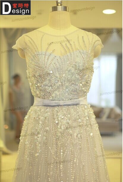 Luxury Heavy Beaded Long Length Real Sample Elie Saab Evening Dress Online Shopping 2014