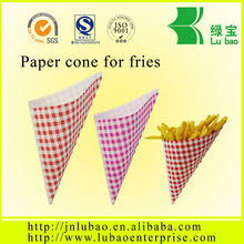 high quality paper cone package fro chips and fries in china