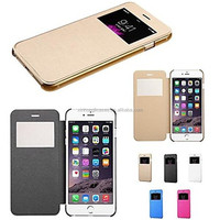 Touch View Flip Back Transparent Full PU Leather Body Case for iPhone 6
