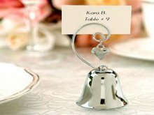 AXW20 Silver Metal Material Design Bell Place Card Holder