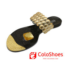 Extravagance golden toe ring sandals women