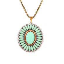 Bohemian Handmade Resin Pendant Necklace Statement Crystal Necklace