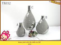 Vase art decor black & silver classical mosaic flower vase