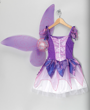 New lovely design kid girls'stage party dress,purple costume party dress with butterfly wing,OEM girls elf prom party dress