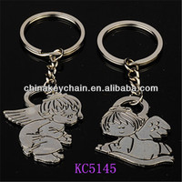 Lovely angel boy and girl baby doll metal lovers keychain from China